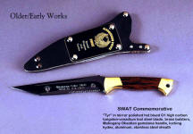 """Tyr"" SWAT Police commemorative knife, tanto blade, blued and engraved, gemstone handle, locking kydex, aluminum, stainless steel sheath"
