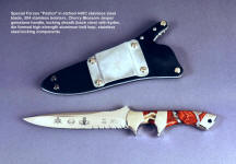 US Army Special Forces Patriot combat, tactical knife, with rear of sheath showing large die formed corrosion resistant high strength aluminum belt loop plate