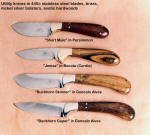Working, utility knives in stainless steel hollow ground blades, nickel silver and brass fittings, exotic hardwood handles, handmade