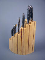 Pecan hardwood with American black walnut chef's knife block
